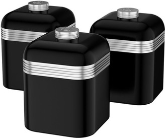 Swan Retro Set Of 3 Canisters - Black