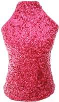 URqueen Women's Sequins Embellished Halter Clubwear Tank Top Pink