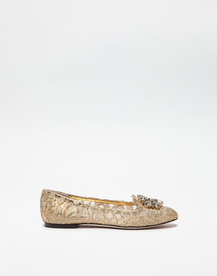 Dolce & Gabbana Slipper In Taormina Lurex Lace With Crystals