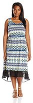 Notations Women's Plus-Size Sleeveless Printed Hi Low Dress