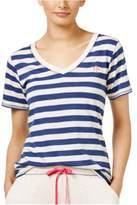 Tommy Hilfiger Womens Striped V Pajama Sleep T-shirt oatmlmdvblue M - Juniors
