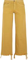 Simon Miller Salado Cropped Frayed Low-rise Wide-leg Jeans - Saffron
