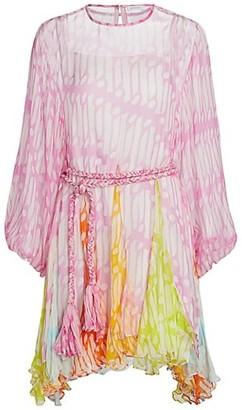 Rhode Resort Ella Belted Crinkle Chiffon Dress