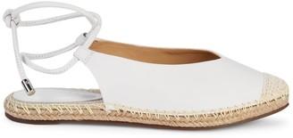 Schutz Laba Ankle-Tie Leather Espadrille Flats