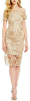 Jax Metallic Embroidered Sheath Dress