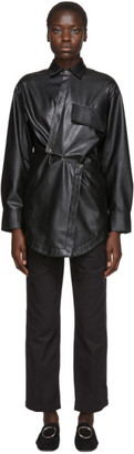 Markoo Black Vegan Leather Snap Button-Down Shirt