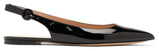 Gianvito Rossi Anna Point-toe Patent-leather Slingback Flats - Black