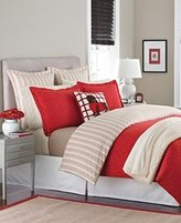 Martha Stewart Collection GALLERY TILE Reversible Flannel Twin Comforter Cover, Red