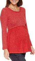 Asstd National Brand Long Sleeve Scoop Neck Pullover Sweater-Maternity