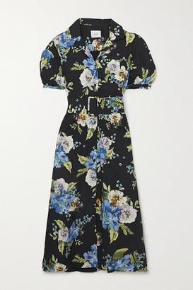 Erdem Frederick Belted Floral-print Cotton-poplin Midi Shirt Dress - Black