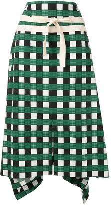 Plan C Checked Asymmetric Skirt