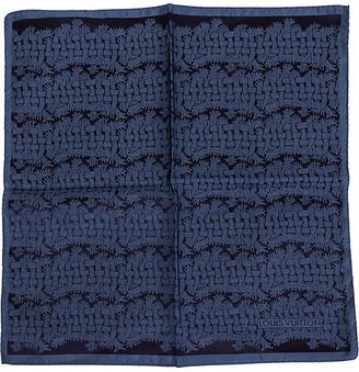 One Kings Lane Vintage Louis Vuitton Silk Print Pocket Scarf - Vintage Lux - blue