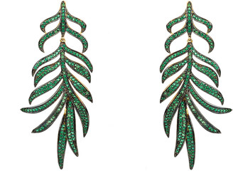 Feathered Leaf Statement Drop Earring Green Cz