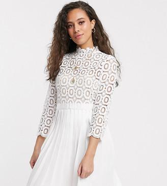 Little Mistress Petite mini length 3/4 sleeve lace dress in white