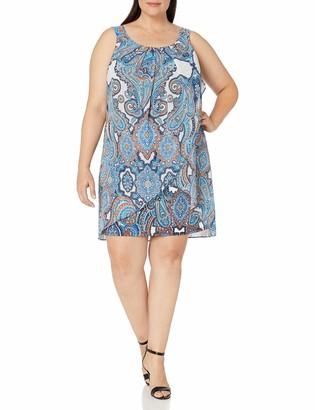 Robbie Bee Women's Plus Size Ruffle Front Chiffon Shift Dress