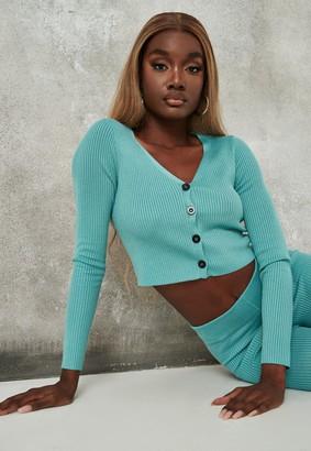 Missguided Green Co Ord Rib Knit Cardigan