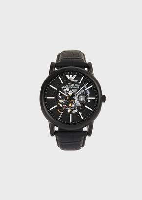 Emporio Armani MenS Watch With Visible Gears And Leather Strap