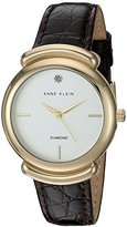 Anne Klein Women's AK/2358SVBN Diamond-Accented Gold-Tone and Brown Croco-Grain Leather Strap Watch
