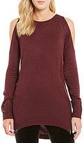 Soulmates Cold-Shoulder Zip Side High-Low Sweater