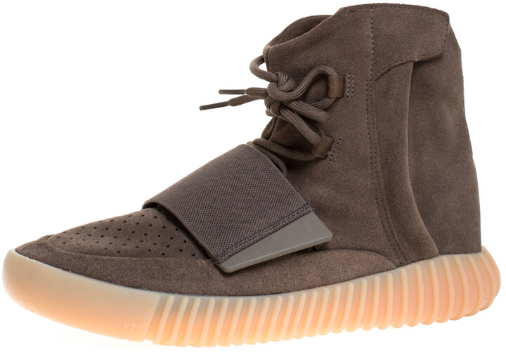 Yeezy By Adidas Boost 750 Brown Suede Leather Glow In The Dark High Top Sneakers Size 42.5