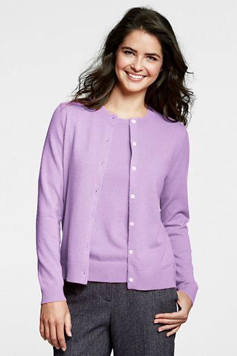 Lands' End Women's Regular Long Sleeve Cashmere Cardigan