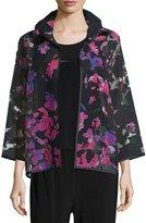 Caroline Rose Petal Bracelet-Sleeve Burnout Jacket, Black/Multi, Petite