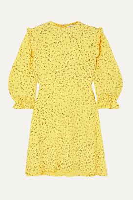 Faithfull The Brand Edwina Ruffled Floral-print Crepe Mini Dress - Yellow