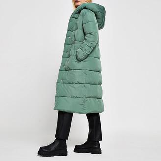 River Island Womens Green long line shawl collar puffer coat