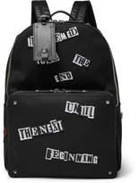 Valentino Appliquéd Canvas Backpack - Black