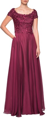 La Femme Embellished Lace & Chiffon A-Line Gown