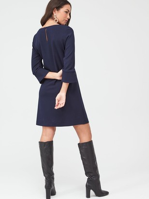 Wallis Gold Stud Crepe Shift Dress - Navy