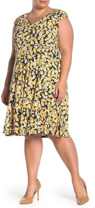 London Times Floral Jersey Fit & Flare Dress