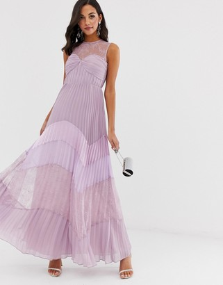 True Decadence premium lace yoke maxi dress with contrast lace pleated skirt in tonal lilac