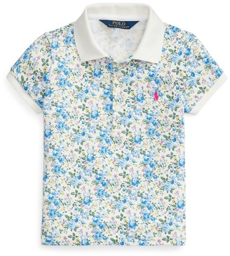 Ralph Lauren Floral Stretch Mesh Polo Shirt