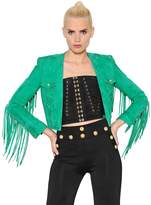 Balmain Fringed Suede Cropped Jacket