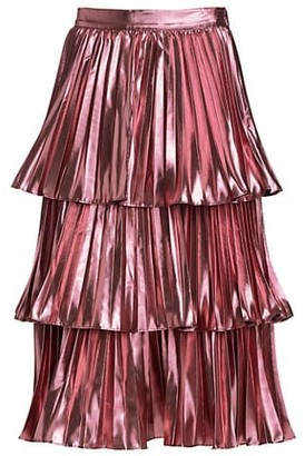 Tanya Taylor Ariana Tiered Metallic Skirt