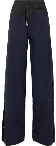 Cédric Charlier Shell-trimmed Wool-blend Wide-leg Pants - Navy