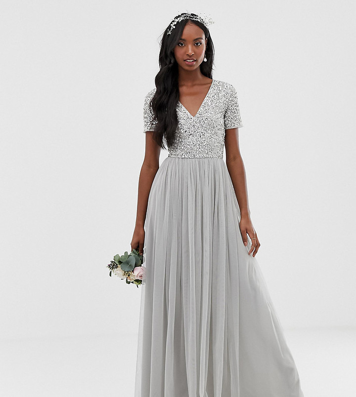 Maya Tall Bridesmaid v neck maxi tulle dress with tonal delicate sequins in silver
