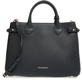 Burberry 'Medium Banner' House Check Leather Tote - Black