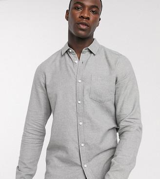 ASOS DESIGN Tall regular fit flannel shirt in light gray