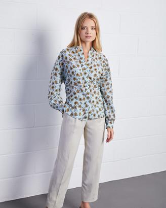 Jigsaw Leaves Print Silk Cotton Voile Shirt