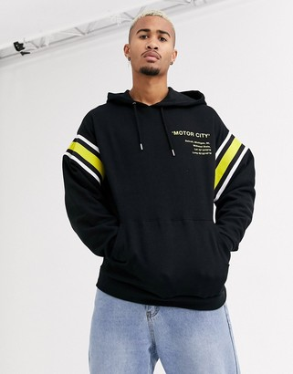 Asos Design DESIGN oversized hoodie in black with wash and print detail