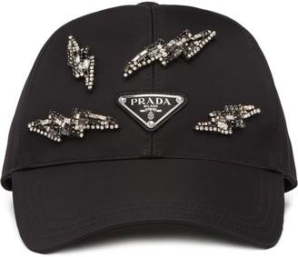 Prada Lightning Bolt Embellished Cap