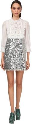 Miu Miu Sequin Embellish Lace Chiffon Mini Dress
