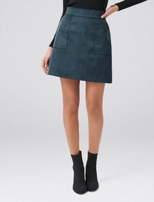 Forever New Tara Suedette Mini Skirt - Teal Embrace - 16