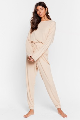 Nasty Gal Womens Recycled Be More Chill Joggers Lounge Set - Cream