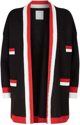 Sandro Stripe-Trim Open-Front Cardigan