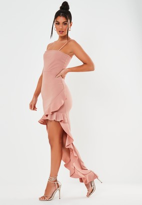 Missguided Blush Square Neck Ruffle High Low Dress
