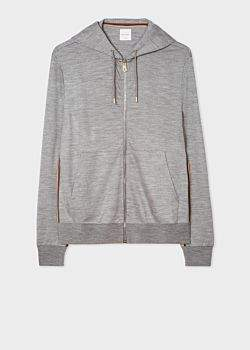 Men's Grey Marl Zip-Front Wool Hoodie With 'Artist Stripe' Trim