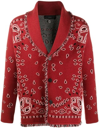 Alanui Bandana Pattern Knitted Cardigan